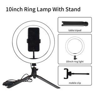 Image 3 - Светодиодный светильник для телефона, кольцевой штатив, профессиональная лампа для фотосъемки на Youtube, с регулируемой яркостью, для фотостудии, для селфи, светодиодный кольцевой светильник, держатель для телефона