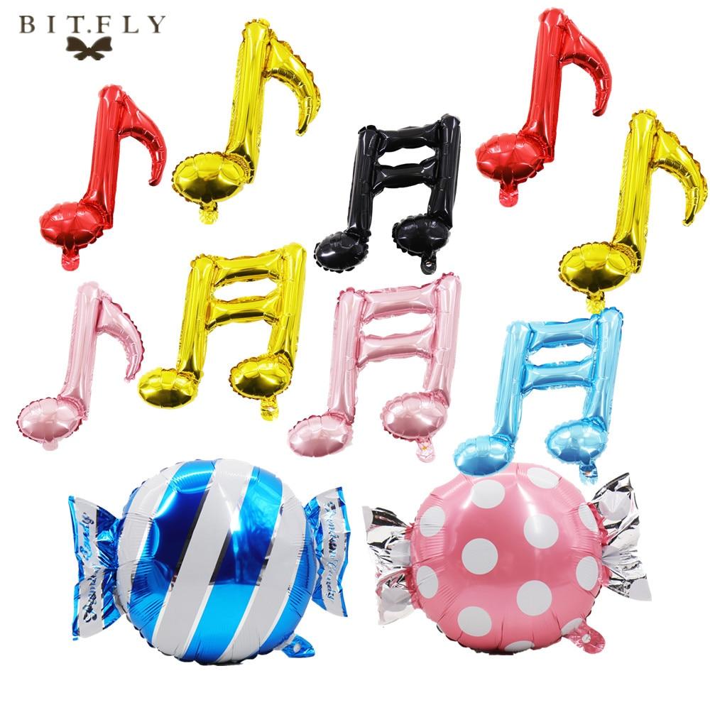 BIT.FLY, globo de aluminio con forma de caramelo para fiestas de bodas, juguetes para baby shower para niños, Navidad, cumpleaños, nota musical, decoración colgante DIY