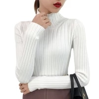2021 new white turtleneck sweater female half small fresh winter jacket slim tight long sleeved all match knitted shirt