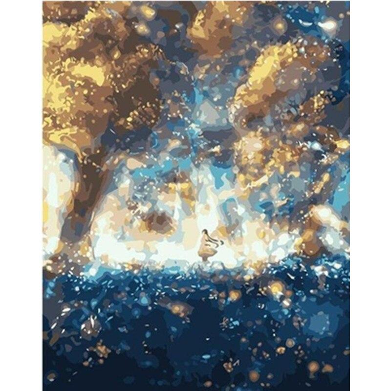 Pintura por números DIY Dropshipping gran tamaño Hermoso centro de tormenta paisaje acrílico casa decoración arte imagen regalo