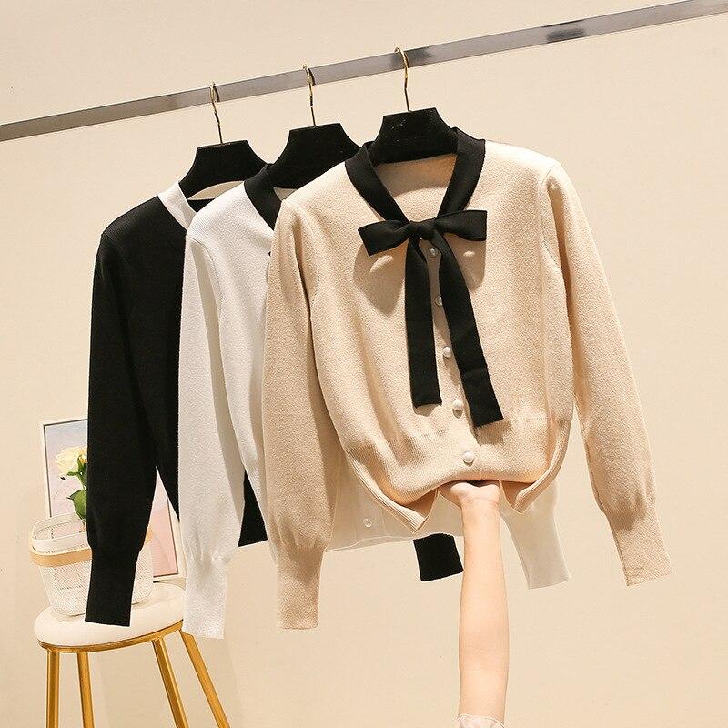 Cuello en V mujeres Cardigan suéter acanalado de punto Tops arco lindo niñas abrigo chaqueta de otoño primavera suéteres de punto negro blanco albaricoque