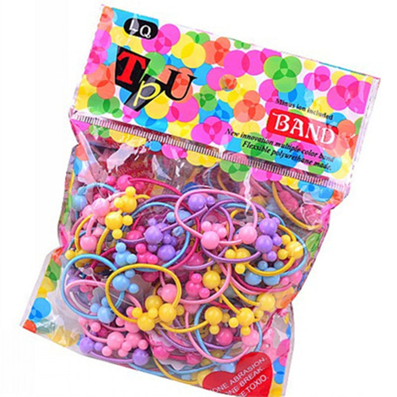 100pcs Children Cute Candy Cartoon Solid Rubber Bands Polyester Girls Lovely Elastic Hair Kids Sweet Accessories