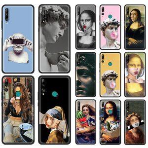 Phone Case for Huawei Y6 Y6P Y7 Y7A Y7P Y8P Y8S Y9A Y9S Y5 Y5P Y6S 2019 Silicone Soft Cover Coque Statue Mona Lisa David