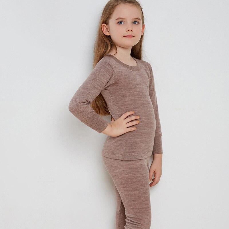 ميرينو-طقم ملابس داخلية للأطفال ، ملابس شتوية سميكة من الصوف الناعم 260 جرام لكل متر مربع