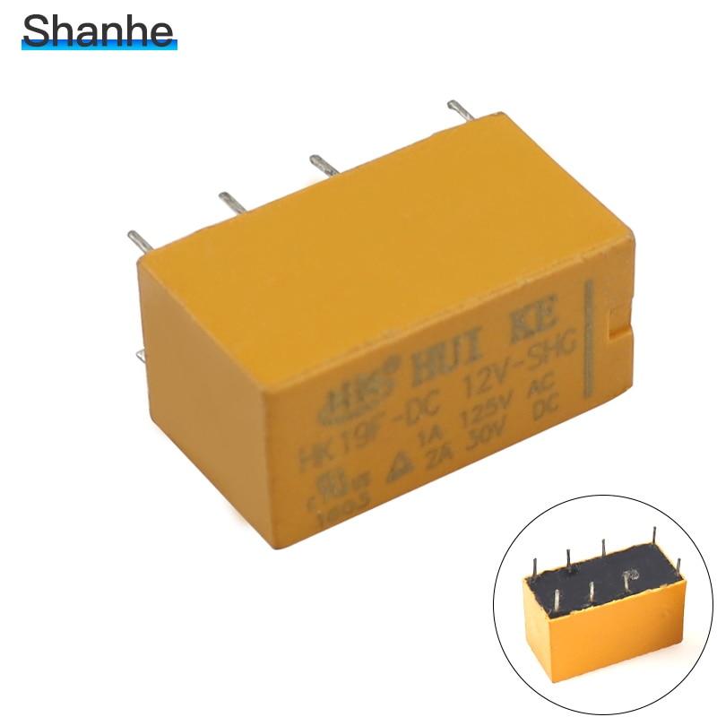 5 uds SHG 12vdc bobina DPDT 8 Pin 2NO 2NC minirelés de potencia Tipo PCB HUI KE HK19F