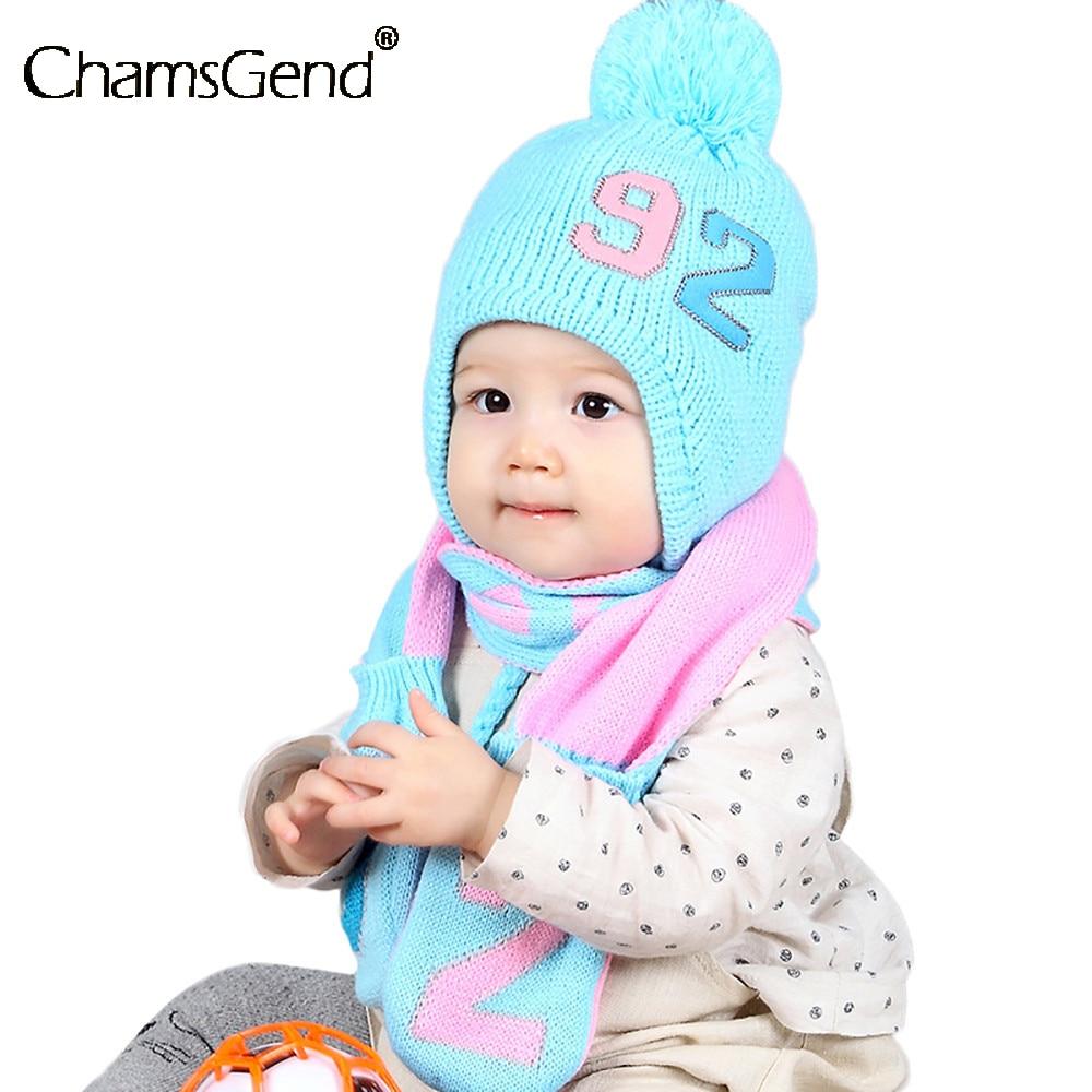 Scarf Hat Set Kids Baby Toddler Number 92 Knitted Beanies Hat Children Winter Warm Neck Wraps Shawls Scarves