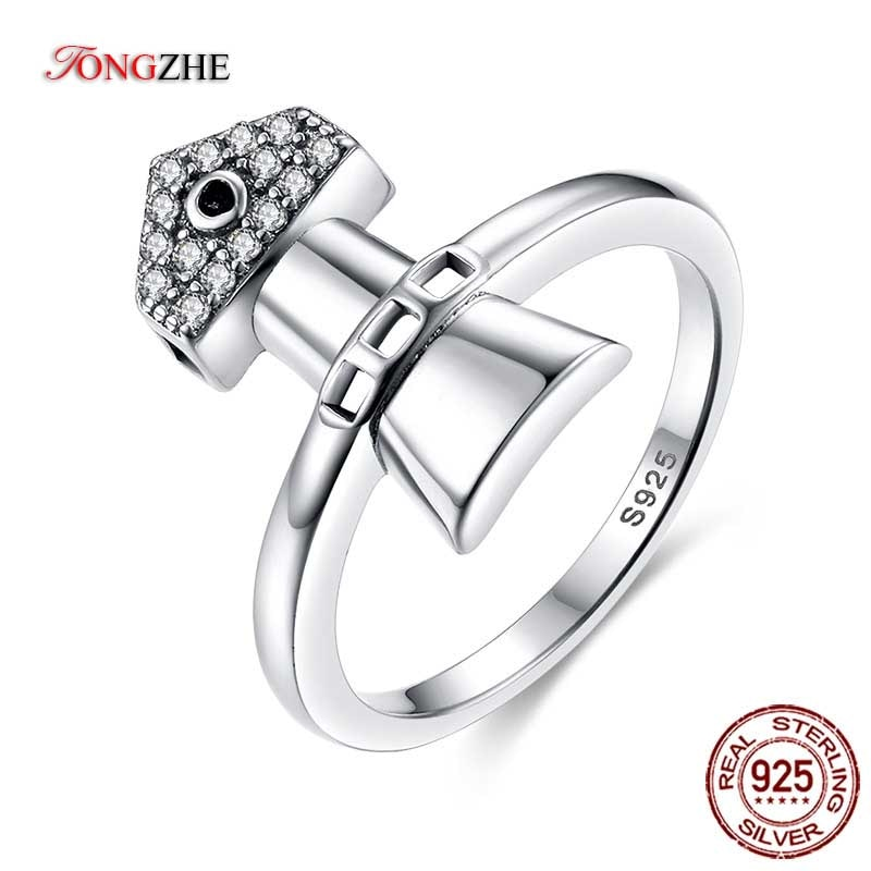 TONGZHE, anillos de ancla geniales para mujer, hombre, Plata de Ley 925 auténtica, Punk, Arma de motorista única CZ, joyería de moda Punk, triangulación de envío