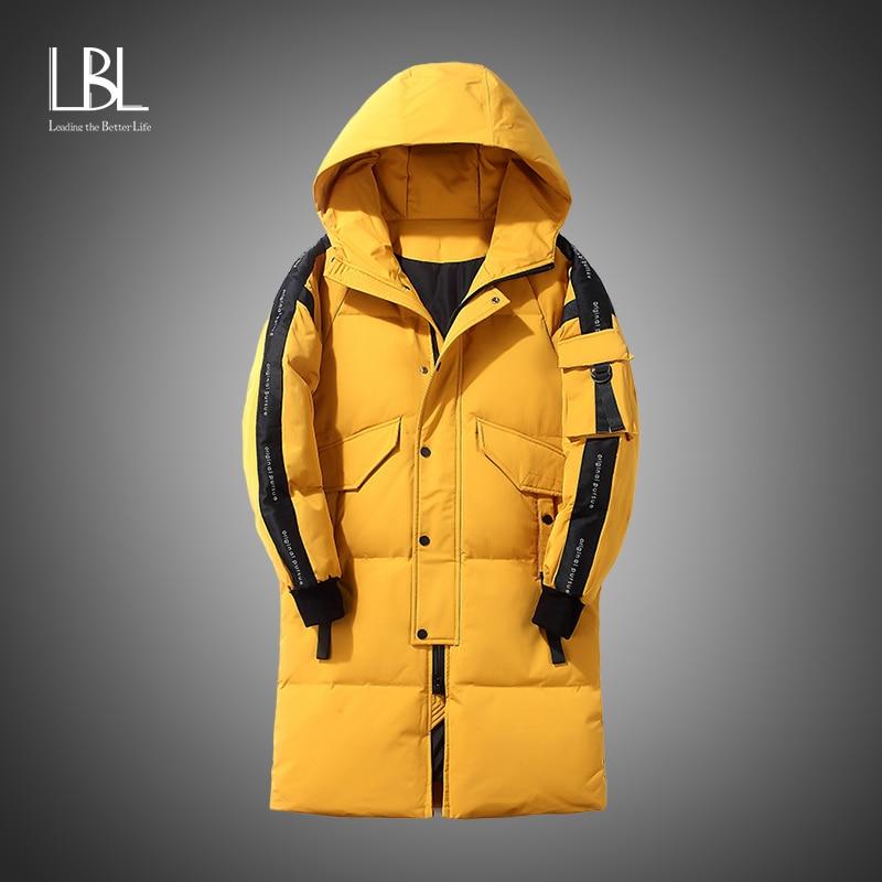 Long Men Down Jacket 2021 Fashion Winter Warm Thick White Duck Down Parka Male Men's Windbreaker Dow