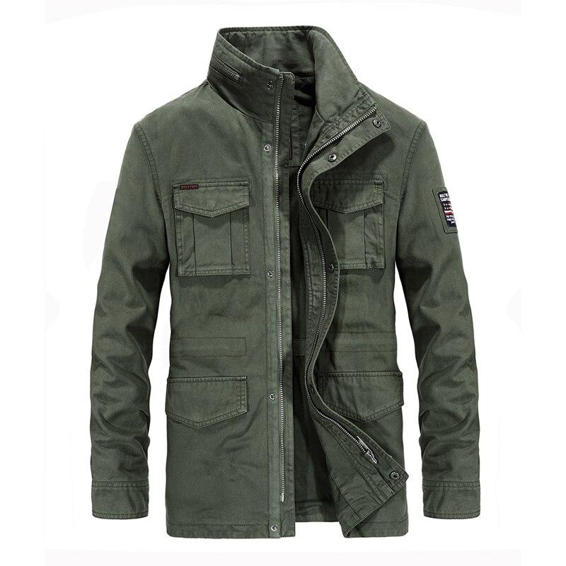 Safari estilo gola bolsos com zíper dragona jaquetas militares para homens algodão de alta qualidade bordado casaco jaquetas masculinas 4XL