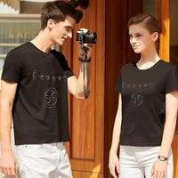 couple t shirt simple printing o neck commuter casual japanese classic series men and women breathable short sleeved top