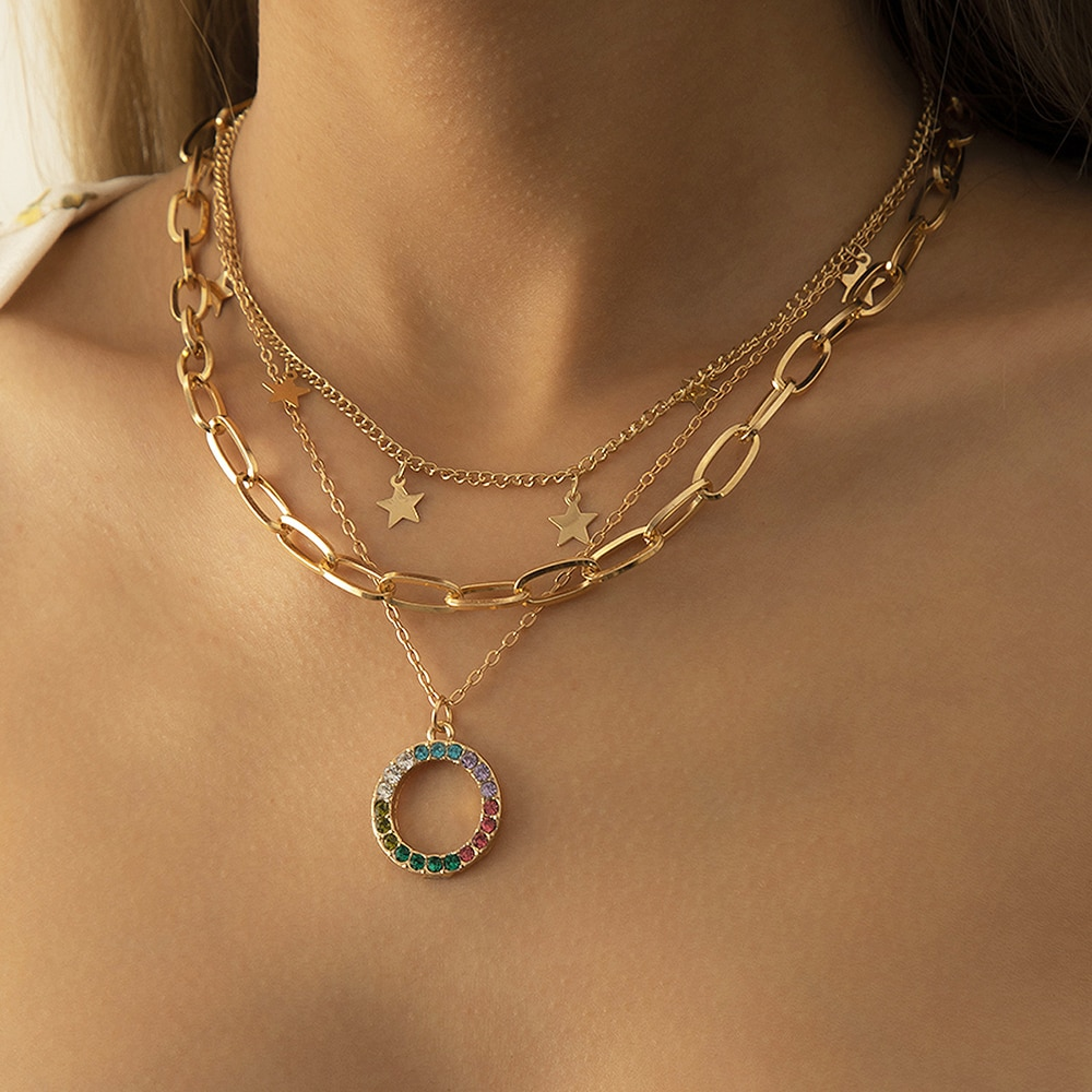 Punk Layered Necklaces for Women Gold Color Stars Choker Necklace Colorful Crystal Circle Pendant Collar Paperclip Chain Jewelry vagzeb vintage boho gold coin layered necklace for women punk vintage butterfly chain long choker collar pendant necklaces