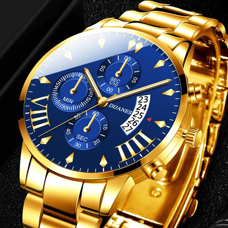 2020 Men's Fashion Watches Luxury Gold Stainless Steel Quartz Wrist Watch Men Business Casual Calendar Clock relogio masculino men s watch luxury business stainless steel band quartz watch men white dial calendar fashion clock wristwatch relogio masculino