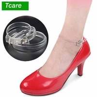 tcare 1pair fashion foot care shoe straps silver buckle high heels anti loose shoelace accessories transparent new