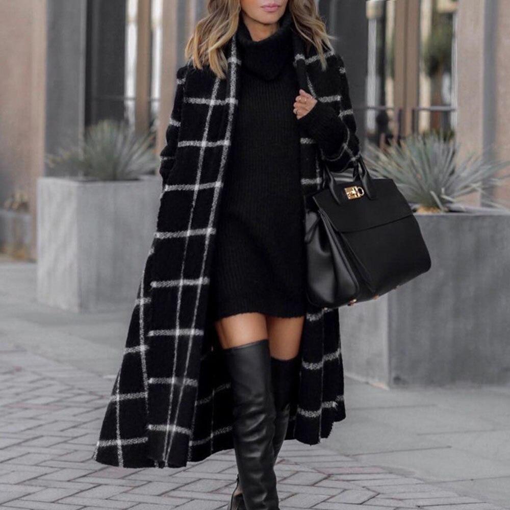 2021 Vintage Casual Office Lady Elegant Autumn Winter New Fashion Woman Overcoat Plaid Lapel Straigh