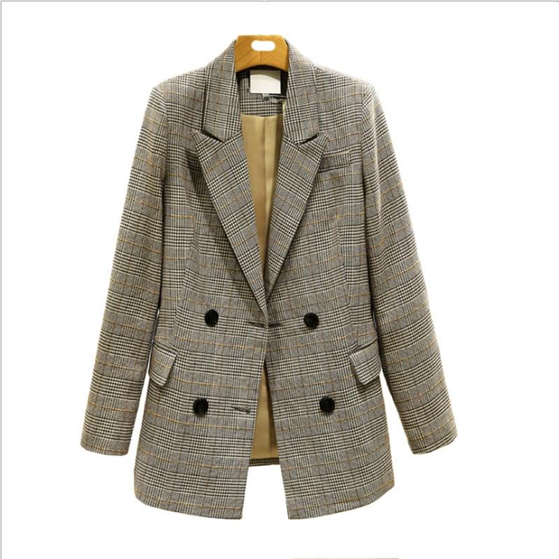 Женская винтажная клетчатая куртка, двубортная винтажная куртка с карманами, 2020