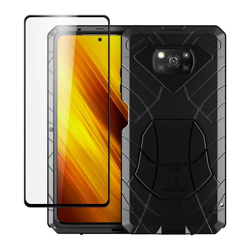 جراب هاتف Xiaomi POCO X3 NFC Pro ، زجاج مقسّى ، درع حماية شديد التحمل ، مقاوم للصدمات ، معدن الألمنيوم الصلب ، Pocox3