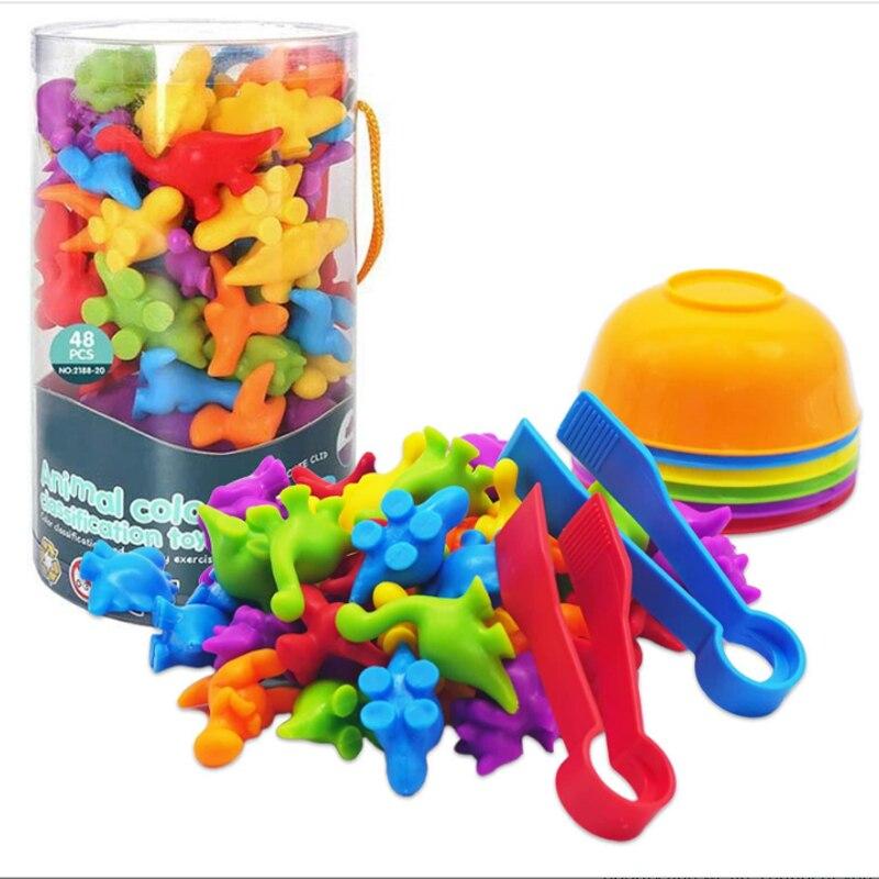 Подсчетные динозавры Монтессори, подходящая игра с сортировочными чашками, Классификация цветов, сенсорные Обучающие игрушки