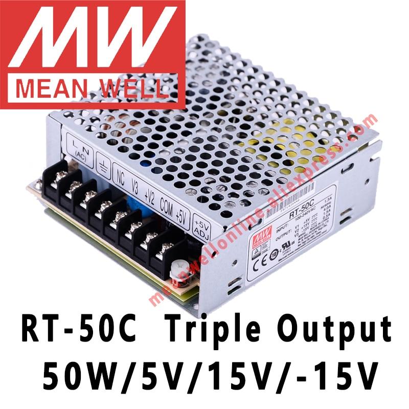 يعني حسنا RT-50C 5V/15V/-15V AC/DC 50W الناتج الثلاثي تحويل التيار الكهربائي meanwell متجر على الانترنت