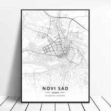 Novi üzgün belgrad sırbistan tuval sanat haritası posteri