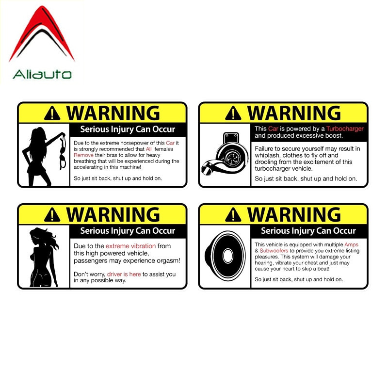 Aliauto 4 X Cartoon Funny Warning Car Sticker Reflective PVC Decals for Mazda 2 3 5 Cx-3 Cx-5 Cx-7 Mx5 Mx7 Angkesaila ,9x4.5cm