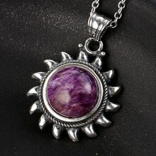 Nasiya violet Charoite collier en argent Sterling S925 Vintage Type naturel Charote collier pour les femmes cadeau