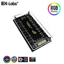 ASUS AURA SYNC 5V 3-pin RGB 10 Hub Splitter SATA Power 3pin ARGB Adapter Verlängerung Kabel für GIGABYTE MSI ASRock RGB LED w/Fall