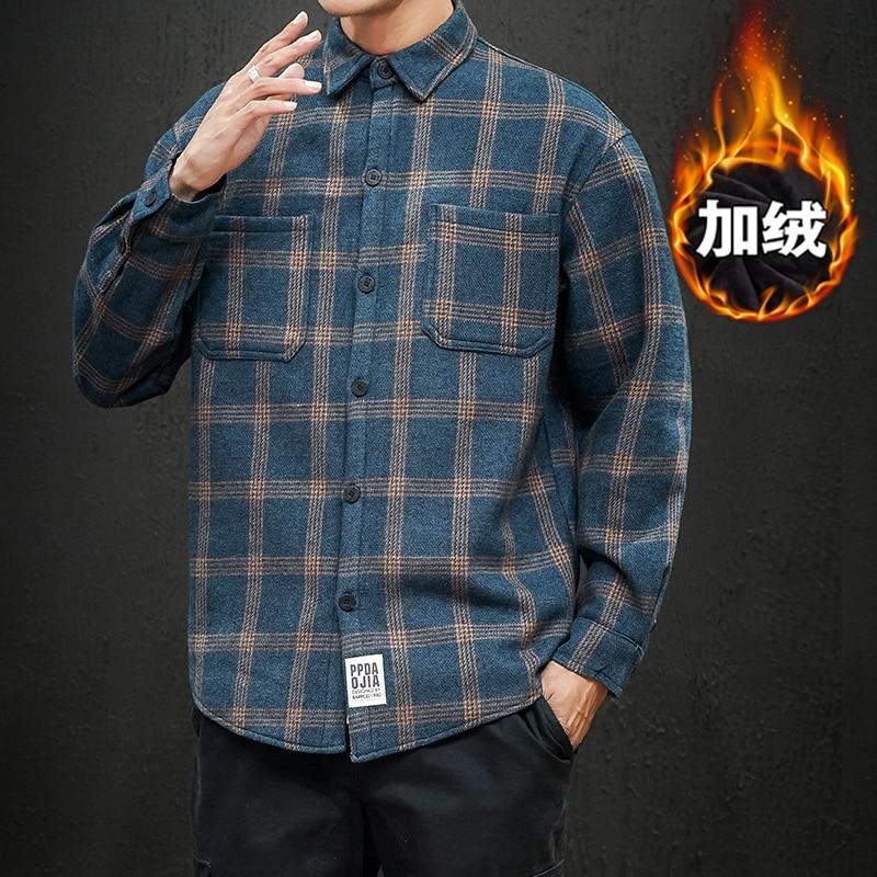 Мужская Утепленная рубашка в клетку UYUK, Повседневная Свободная универсальная утепленная рубашка с лацканами, уличная одежда, зима 2019