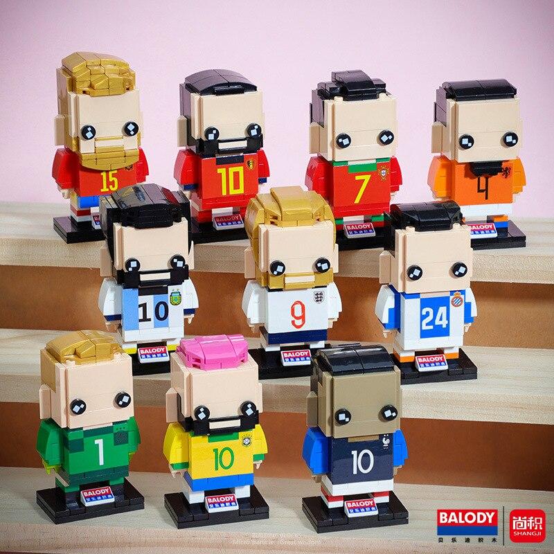 BALODY20001-20010 MINI brickheadz football super star series assembled building block toys for children gifts