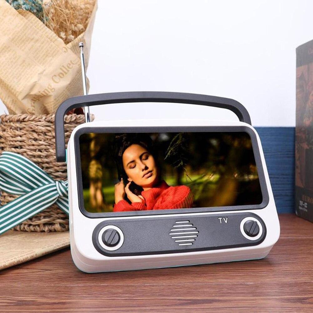 Altavoz Bluetooth altavoz portátil inalámbrico creativo Retro estilo TV soporte de teléfono móvil barra de sonido altavoz de dientes azules