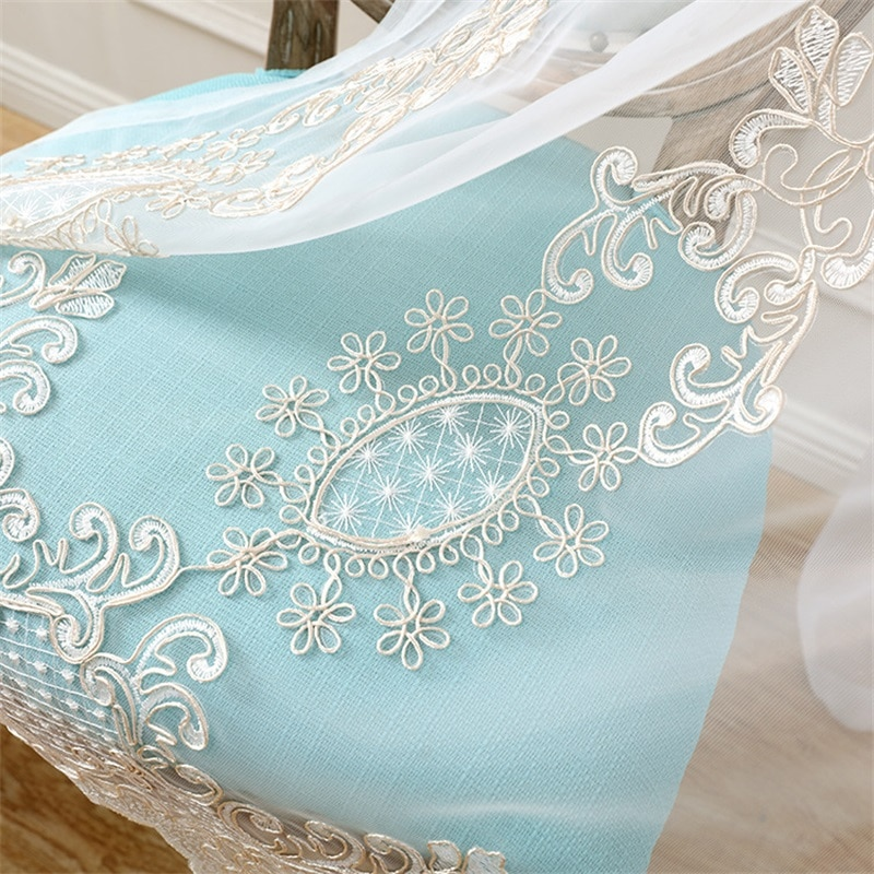 Lujosas cortinas para sala de estar de tul de estilo europeo, cortinas de gasa bordadas para dormitorio, cocina, cortinas T301 #4