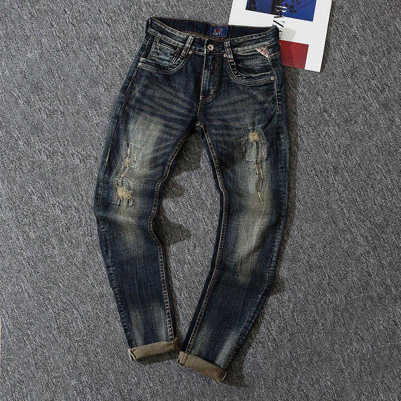 Европейские винтажные модные мужские джинсы в стиле ретро черные синие Эластичные зауженные рваные джинсы мужские дизайнерские повседнев...