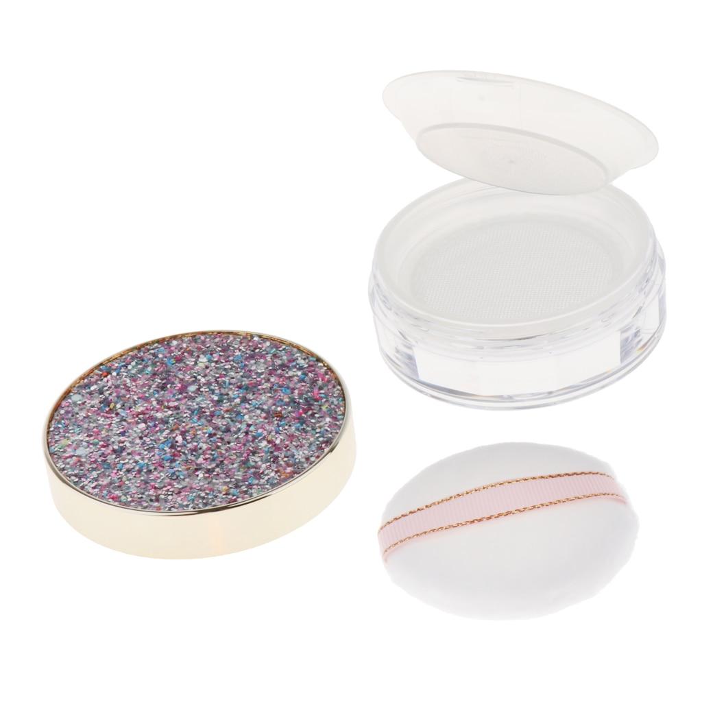 Estuche de polvo de cara de viaje, caja de contenedor de sombra de ojos para colorete DIY con Puff de polvo
