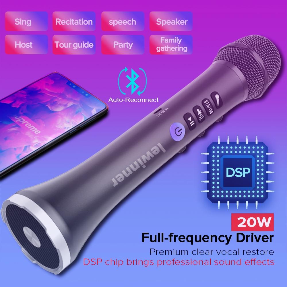 Lewinner L-698D professional 20W portable wireless Carpool Bluetooth karaoke microphone speaker with big power for Sing/Meeting enlarge