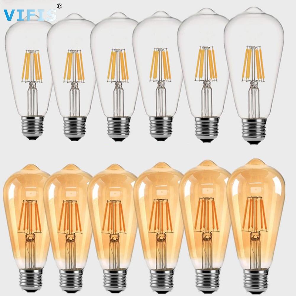 E27 Dimmable Ретро светодиодный светильник лампа AC220V ST64 4 Вт 6 Вт 8 Вт винтажные лампы Эдисона для потолочной лампы накаливания светильник ing лампы ...