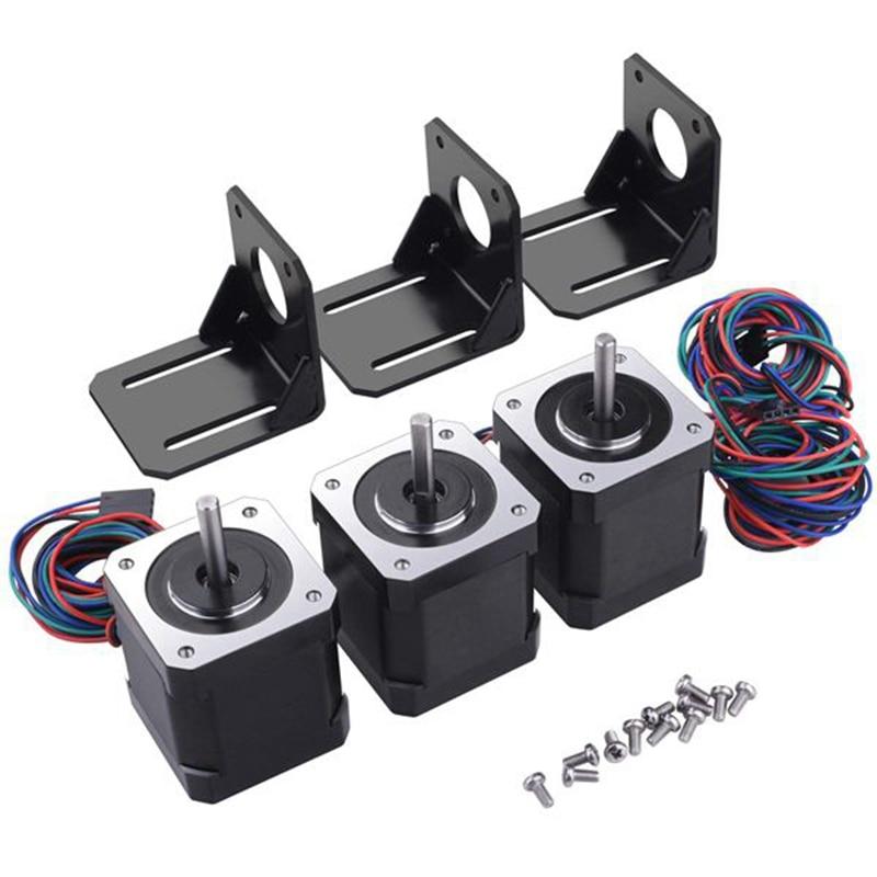 3 حزمة نيما 17 محرك متدرج مع 1 متر 4 دبوس كابل و موصل و 3 حزمة تصاعد قوس عدة للطابعة ثلاثية الأبعاد/نك