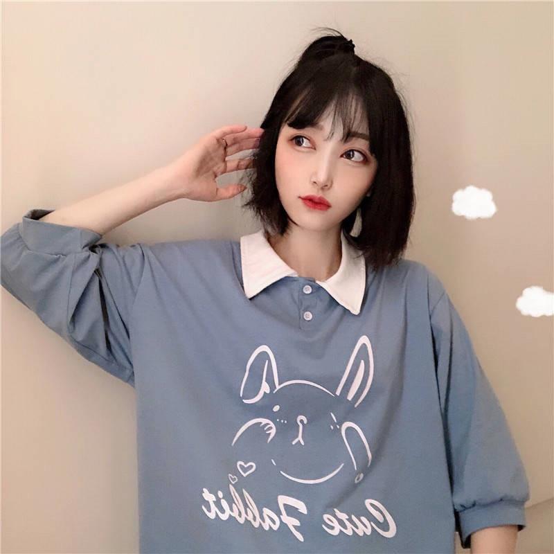 Rosa Azul, camiseta de las mujeres corte conejo impreso bonita camiseta camisa mujer camiseta Linda mujeres de dibujos animados niñas Tops