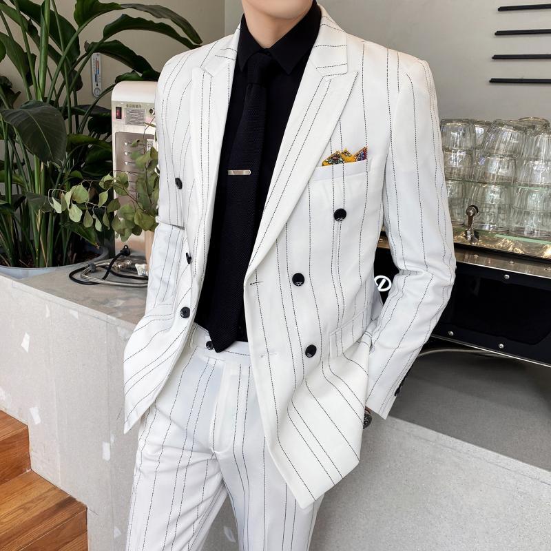 (Пиджак + брюки) классический мужской официальный деловой костюм в клетку Мужская модная бутиковая двубортная одежда костюм для свадебного ...