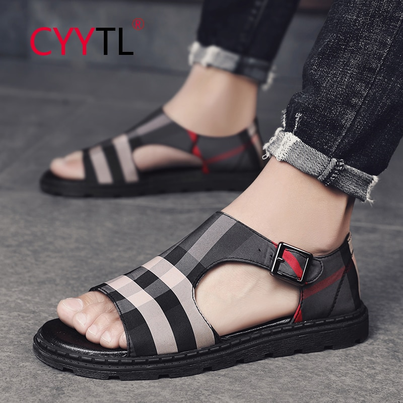 CYYTL Vintage Check Leather Men Sandals Buckle Beach Slippers Outdoor Fashion Summer Shoes Open Toe Zapatos Hombre Chaussures