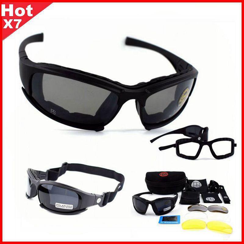 Gafas tácticas X7 gafas de sol polarizadas Airsoft Paintball senderismo gafas militares caza tiro gafas con 4 lentes