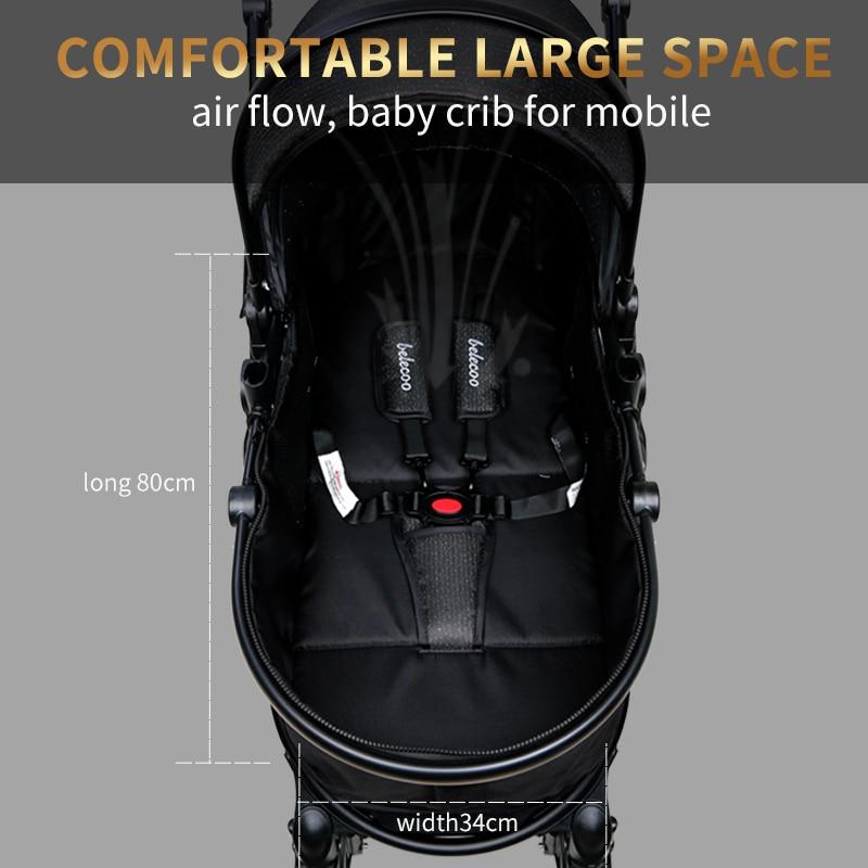Baby Stroller Lightweight Newborn Pram 3 in 1 Strollers Anti-shock All terrain Pushchair Reversible Bassinet Car Seat Cup Holder enlarge