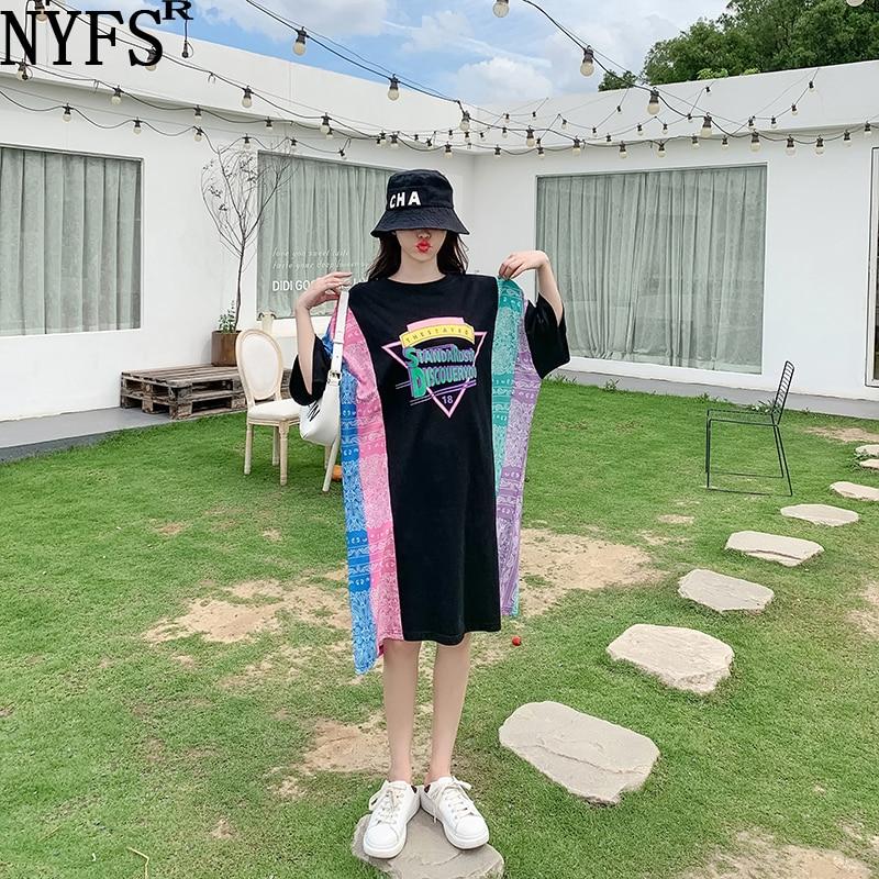 NYFS فستان صيفي 2021 الكورية الجديدة فضفاضة الطباعة امرأة فستان Vestidos رداء Elbise موضة المرقعة فستان طويل