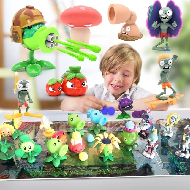 Large Genuine Plants vs. Zombie Toys 2 Complete Set Of Boys Soft Silicone Anime Figure Children's Dolls Kids Birthday Toy Gifts 10