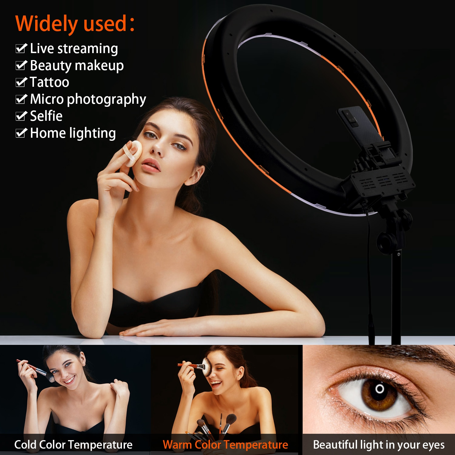 FOSOTO 18 Inch led Ring Light Photography Lamp Selfie Ringlight Led Ring Lamp With Tripod Stand For Makeup Youtube Tiktok enlarge