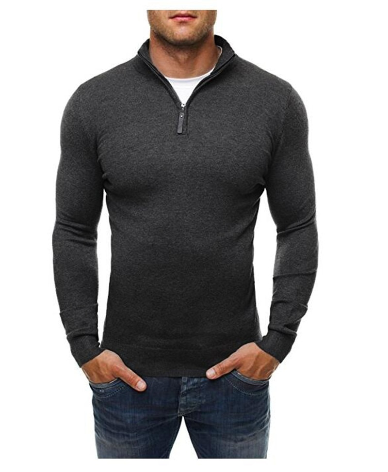 2020 Casual Sweater Men's Solid Color Standing Collar Long Sleeve Sweater Zip Knit Sweater Men's Black Gray Navy Blue