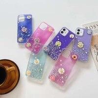 glitter flower case for iphone 12 11 pro max mini xs xr x 7 8 se2 cute transparent epoxy soft tpu pearl daisy silicone cover