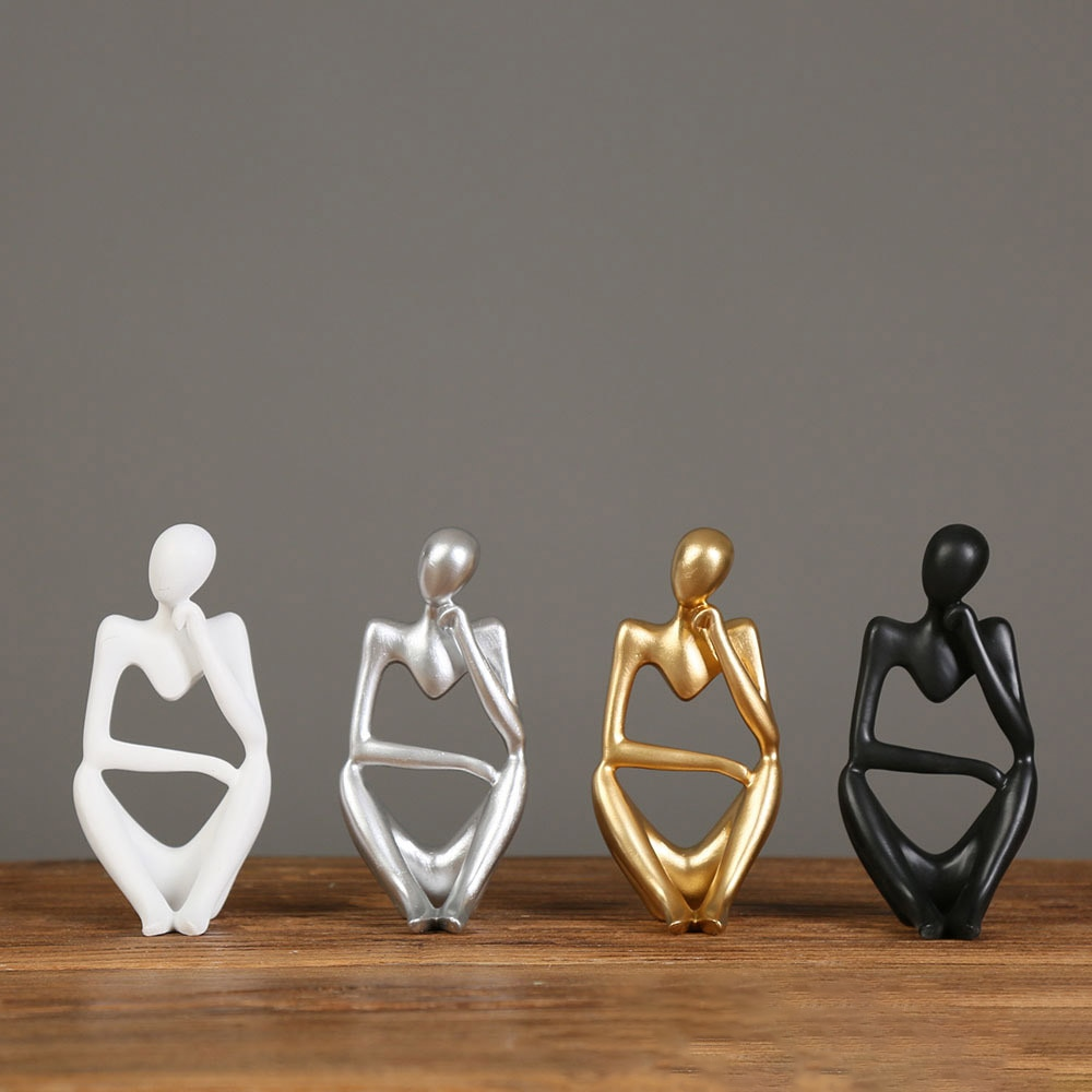 Resin Figurines Abstract Thinker Statue Modern Interior Art Figure Sculpture Office Desk Living Room Ornaments Home Decoration