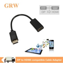 Grwibeou DP to HDMI-compatible Cable Adapter Male To Female For HP/DELL Laptop PC Display Port to 10