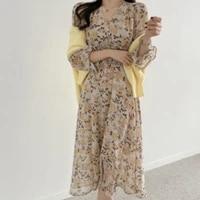 korean one piece elastic waist printed dress 2021 summer new korean vintage chiffon long dress female flared sleeve sundress