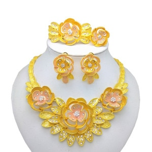 Kingdom Ma New Indian Bridal Wedding Crystal Big Jewelry Set For Women Dubai Necklace Bracelet Earrings Ring Gold Color Sets