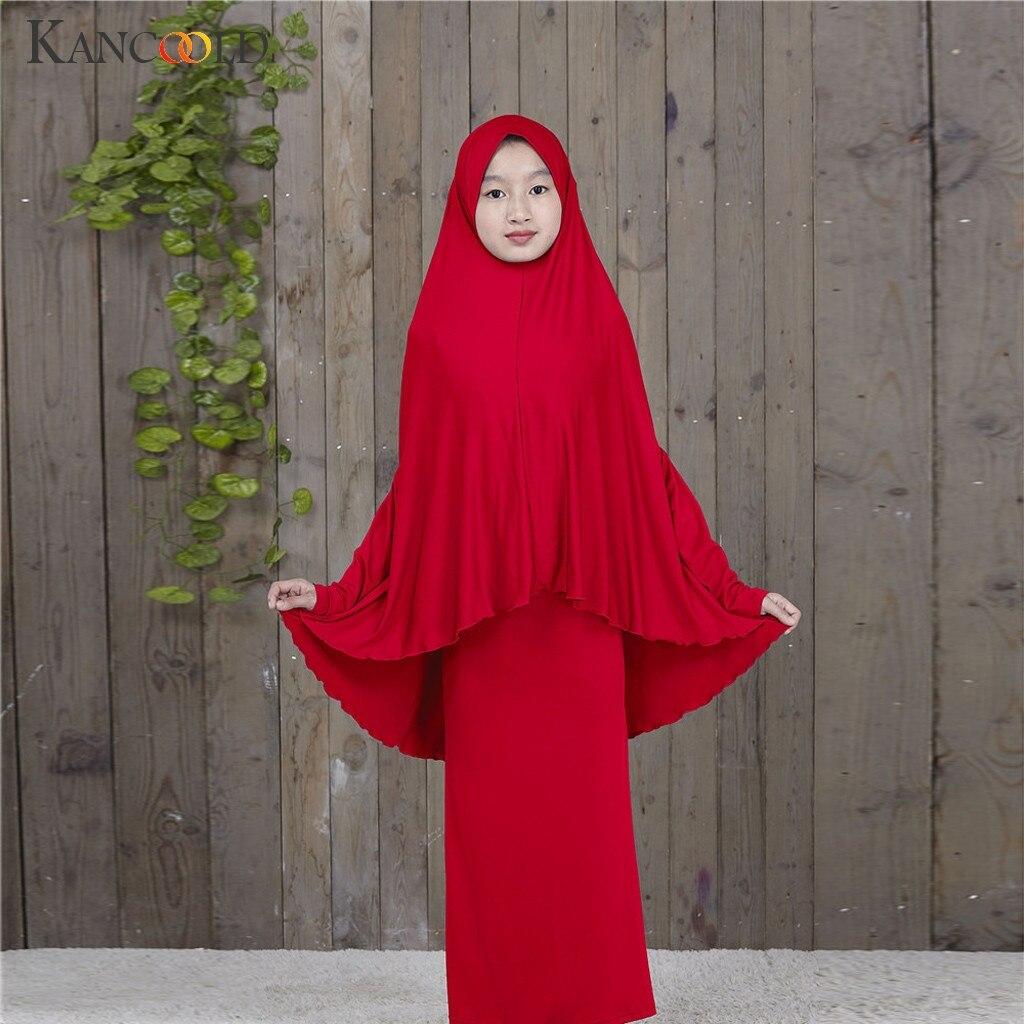 KANCOOLD, túnica tradicional Abaya para Hijab para niñas, ropa para rezar musulmana de dos piezas, Abayas grandes y lisas para niños